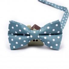 Мужской галстук-бабочка голубая в горошек