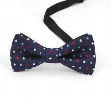 Мужской галстук-бабочка синяя в горошек