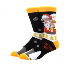 Крутые высокие мужские носки с принтом Санта Клаус