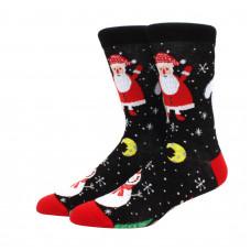 Прикольные высокие носки с принтом Санта и Снеговик