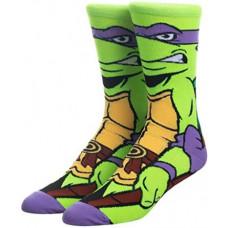 Стильные яркие носки с принтом черепашки Донателло