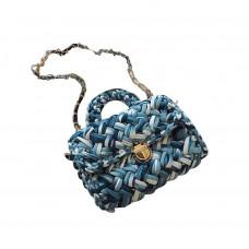 Модная женская сумка через плечо плетеная из ткани