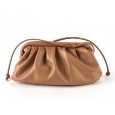 Модная женская сумка пельмень коричневая