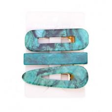 Набор заколок для волос 3 шт. Зеленый мрамор