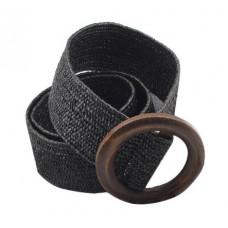 Эластичный плетеный пояс с деревянной пряжкой для женщин - Чёрный