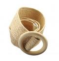 Эластичный плетеный пояс с деревянной пряжкой для женщин - Бежевый