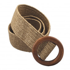 Эластичный плетеный пояс с деревянной пряжкой для женщин - Коричневый