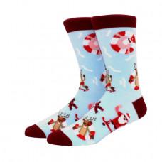 Весёлые высокие носки с принтом Санта Клаус и олени