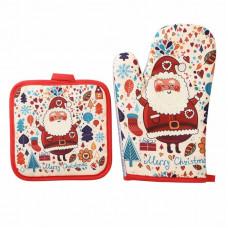 Новогодняя кухонная рукавица + прихватка с принтом Дед Мороз