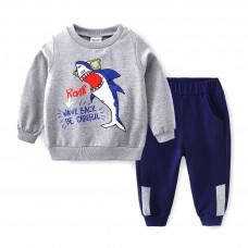 Детский комплект для мальчика с принтом акулы