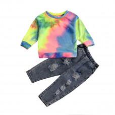 Детский комплект для девочки джинсы и свитшот