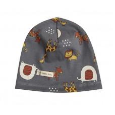Детская шапка с животными серая 1038