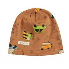 Детская шапка с автомобилями коричневая 1039