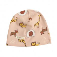 Детская шапка с животными розовая 1040