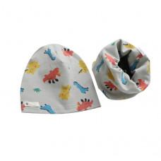 Детская шапка с хомутом серая 1047