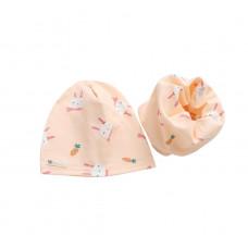 Детская шапка с хомутом розовая 1048