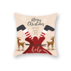 Новогодняя наволочка для подушки с принтом Санта В Мешке