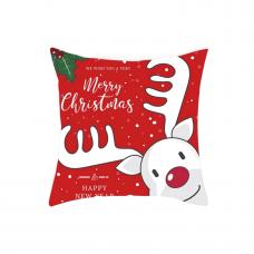 Новогодняя наволочка для подушки с принтом Новогоднего Оленя красная