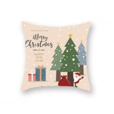 Новогодняя наволочка для подушки с принтом Санта В Лесу