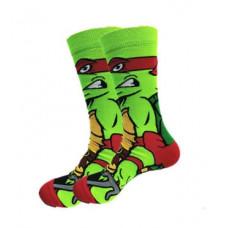 Стильные яркие носки с принтом черепашки Рафаель